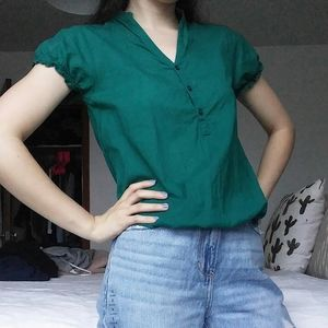 Teal Puff Sleeve Shirt Mandarin Collar